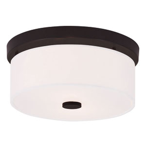 Meridian Bronze 11-Inch Two-Light Flush Mount