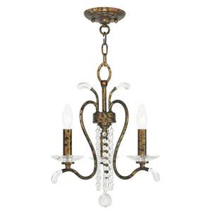 Serafina Hand Applied Venetian Golden Bronze 16.5-Inch Three-Light Convertible Chandelier