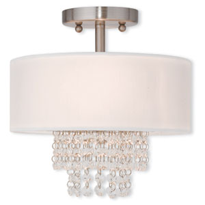 Carlisle Brushed Nickel 11-Inch Two-Light Semi Flush Mount