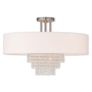 Carlisle Brushed Nickel 22-Inch Five-Light Semi Flush Mount