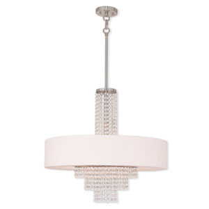 Carlisle Brushed Nickel Five-Light 25-Inch Pendant