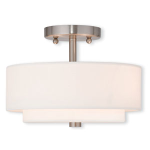 Claremont Brushed Nickel 11-Inch Two-Light Semi Flush Mount