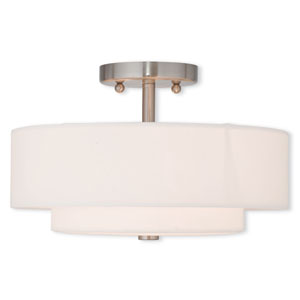 Claremont Brushed Nickel 13-Inch Two-Light Semi Flush Mount
