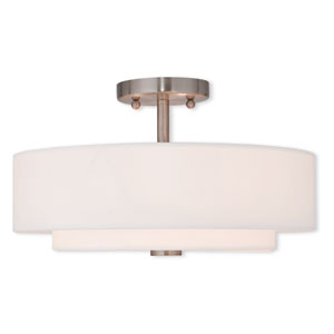Claremont Brushed Nickel 15-Inch Three-Light Semi Flush Mount