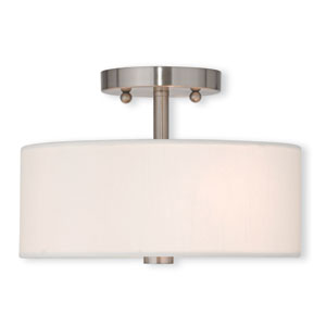 Brighton Brushed Nickel 11-Inch Two-Light Semi Flush Mount