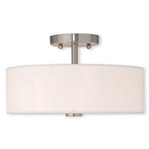 Brighton Brushed Nickel 13-Inch Two-Light Semi Flush Mount