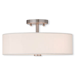 Brighton Brushed Nickel 15-Inch Three-Light Semi Flush Mount