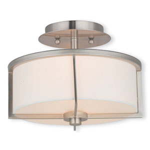 Wesley Brushed Nickel 11-Inch Two-Light Semi Flush Mount