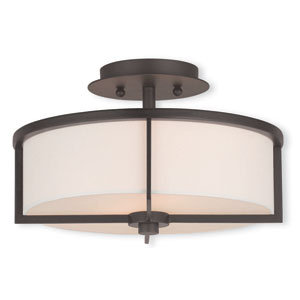Wesley Bronze 13-Inch Two-Light Semi Flush Mount