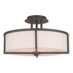 Wesley Bronze 16-Inch Three-Light Semi Flush Mount