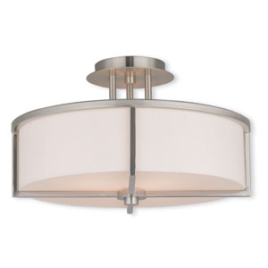 Wesley Brushed Nickel 16-Inch Three-Light Semi Flush Mount