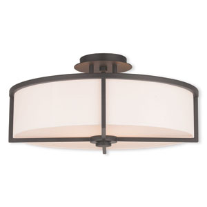 Wesley Bronze 19-Inch Four-Light Semi Flush Mount