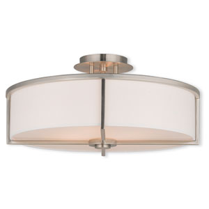 Wesley Brushed Nickel 19-Inch Four-Light Semi Flush Mount