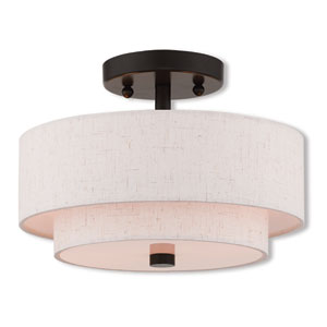 Claremont English Bronze 11-Inch Two-Light Ceiling Mount