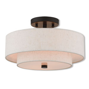 Claremont English Bronze 13-Inch Two-Light Ceiling Mount