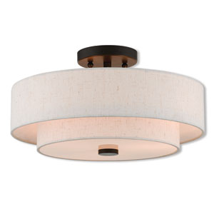 Claremont English Bronze 15-Inch Three-Light Ceiling Mount