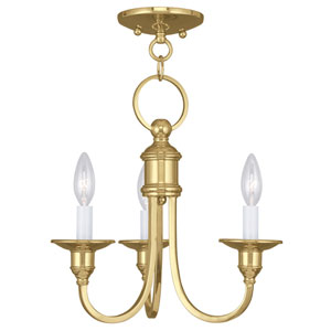 Cranford Polished Brass Three Light Convertible Mini Chandelier and Ceiling Mount