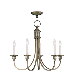 Cranford Antique Brass Five Light Chandelier