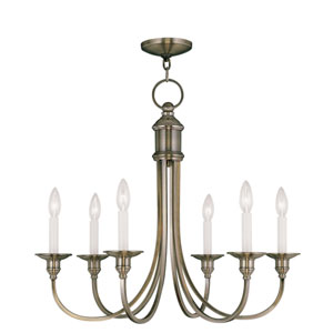 Cranford Antique Brass Six Light Chandelier