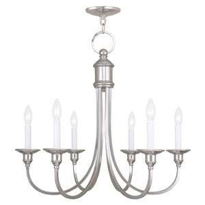 Cranford Polished Nickel Six Light Chandelier