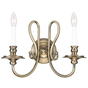 Caldwell Antique Brass 16-Inch Two-Light Bath Sconce