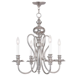 Caldwell Polished Nickel 22-Inch Four-Light Chandelier