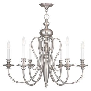 Caldwell Brushed Nickel 30-Inch Six-Light Chandelier