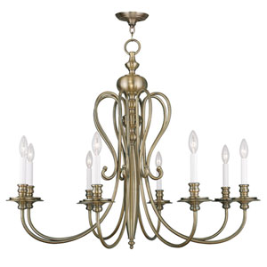Caldwell Antique Brass 35-Inch Eight-Light Chandelier