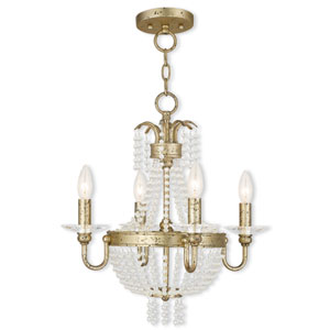 Valentina Hand Applied Winter Gold 18-Inch Four-Light Convertible Chandelier