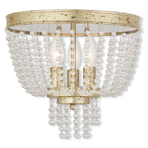 Valentina Hand Applied Winter Gold 12.5-Inch Three-Light Flush Mount