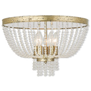 Valentina Hand Applied Winter Gold 18.5-Inch Five-Light Flush Mount