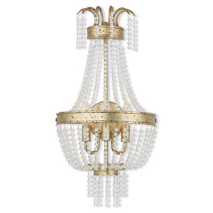Valentina Hand Applied Winter Gold 13-Inch Three-Light Bath Sconce
