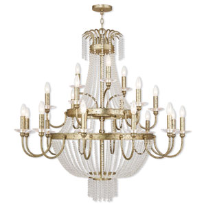 Valentina Hand Applied Winter Gold 42-Inch 21-Light Foyer Chandelier