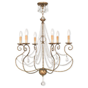 Isabella Hand Applied European Bronze 26.5-Inch Six-Light Chandelier