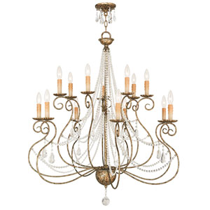Isabella Hand Applied European Bronze 36-Inch 14-Light Foyer Chandelier