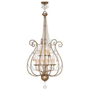 Isabella Hand Applied European Bronze 24-Inch Nine-Light Foyer Chandelier