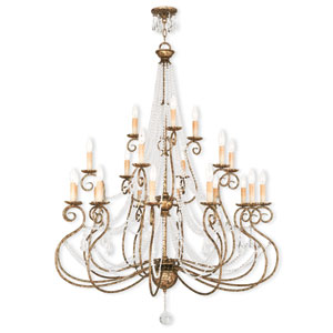 Isabella Hand Applied European Bronze 42.5-Inch 21-Light Foyer Chandelier