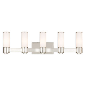 Weston Polished Nickel Five-Light 35.5-Inch Bath Vanity