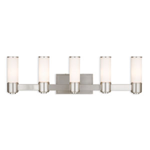Weston Brushed Nickel Five-Light 35.5-Inch Bath Vanity