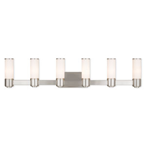 Weston Brushed Nickel Six-Light 46-Inch Bath Vanity
