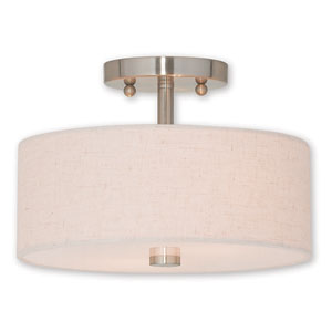 Meridian Brushed Nickel Two-Light 11-Inch Ceiling Mount