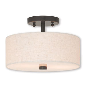 Meridian English Bronze Two-Light 11-Inch Ceiling Mount