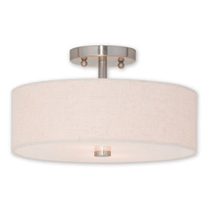 Meridian Brushed Nickel Two-Light 13-Inch Ceiling Mount