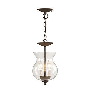 Home Basics Bronze Two-Light Convertible Semi-Flush