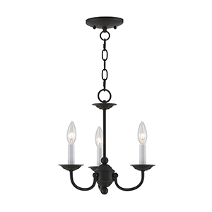 Home Basics Black Three-Light Mini Chandelier