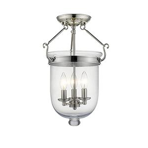 Jefferson Polished Nickel Three-Light Semi-Flush