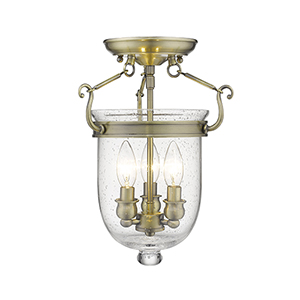 Jefferson Antique Brass Three-Light Semi-Flush