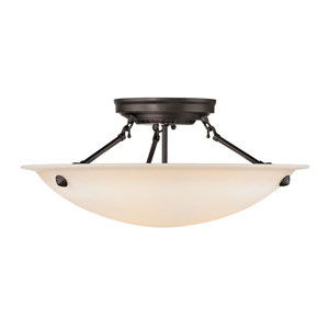 Milan Bronze Three-Light Semi-Flush Mount Fixture