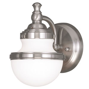 Oldwick Brushed Nickel 5.5-Inch One-Light Bath Sconce