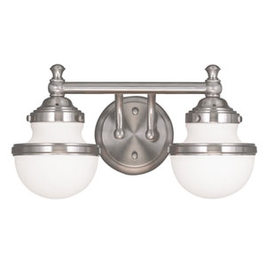 Oldwick Brushed Nickel 15-Inch Two-Light Bath Light